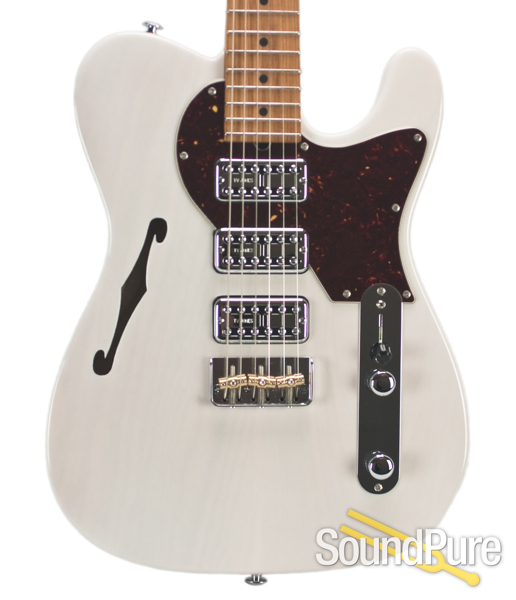 A trans white Classic T with TV Jones pickups and a roasted maple neck