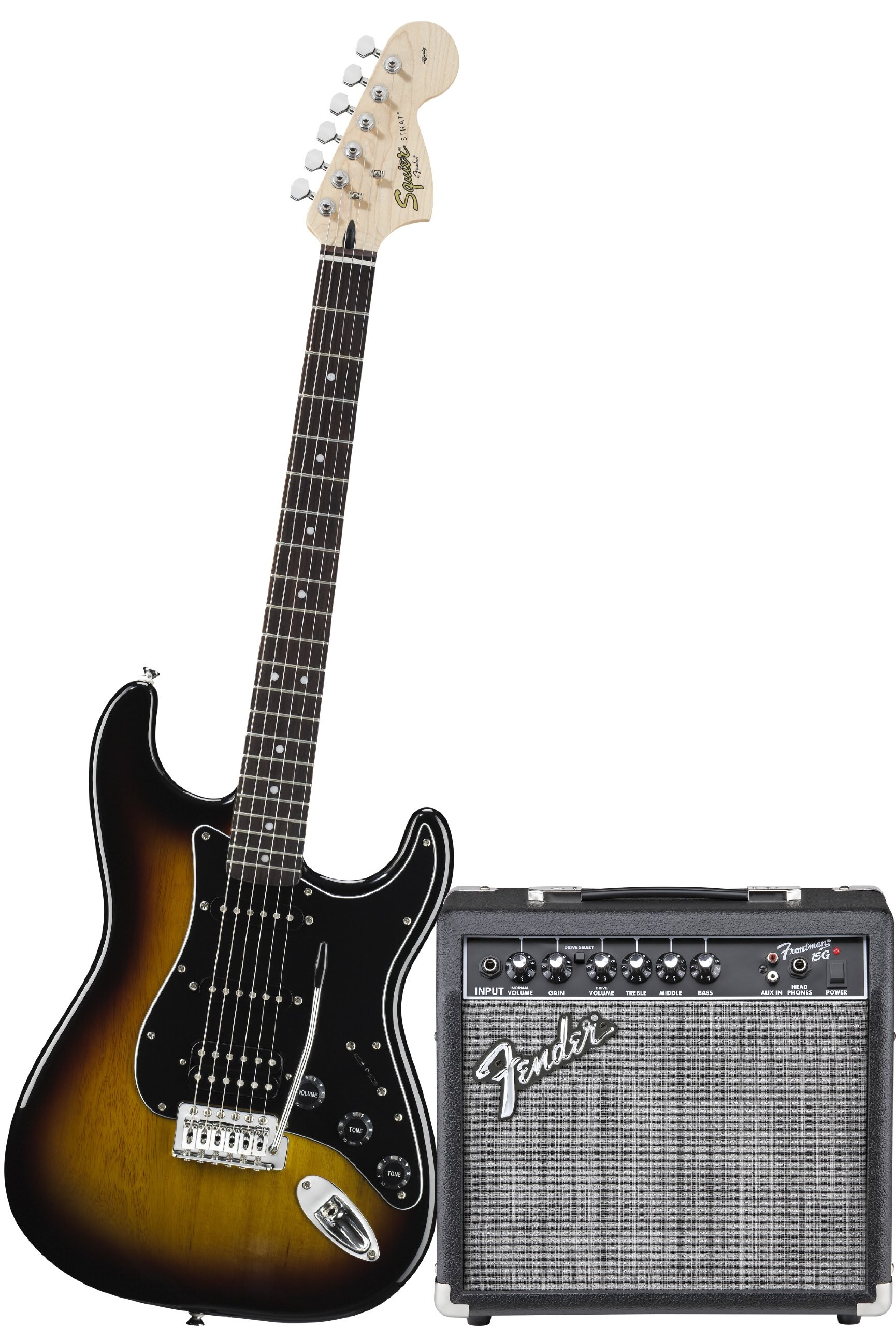 Squier by Fender Affinity Stratocaster Beginner Electric Guitar Pack with Fender FM 15G Amplifier Clip