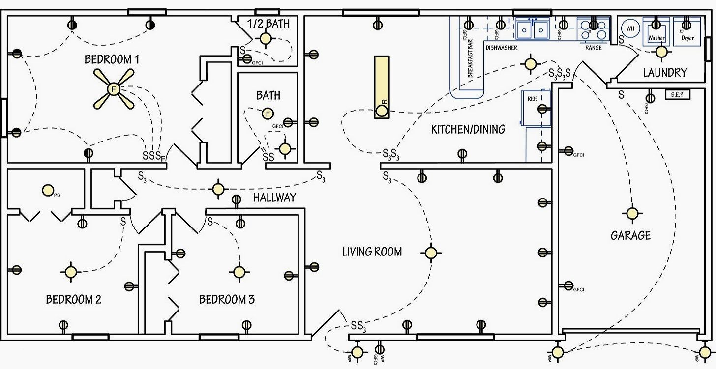 Schematic Diagram House Wiring Best Electrical Symbols are Used Home Electrical Wiring Plans