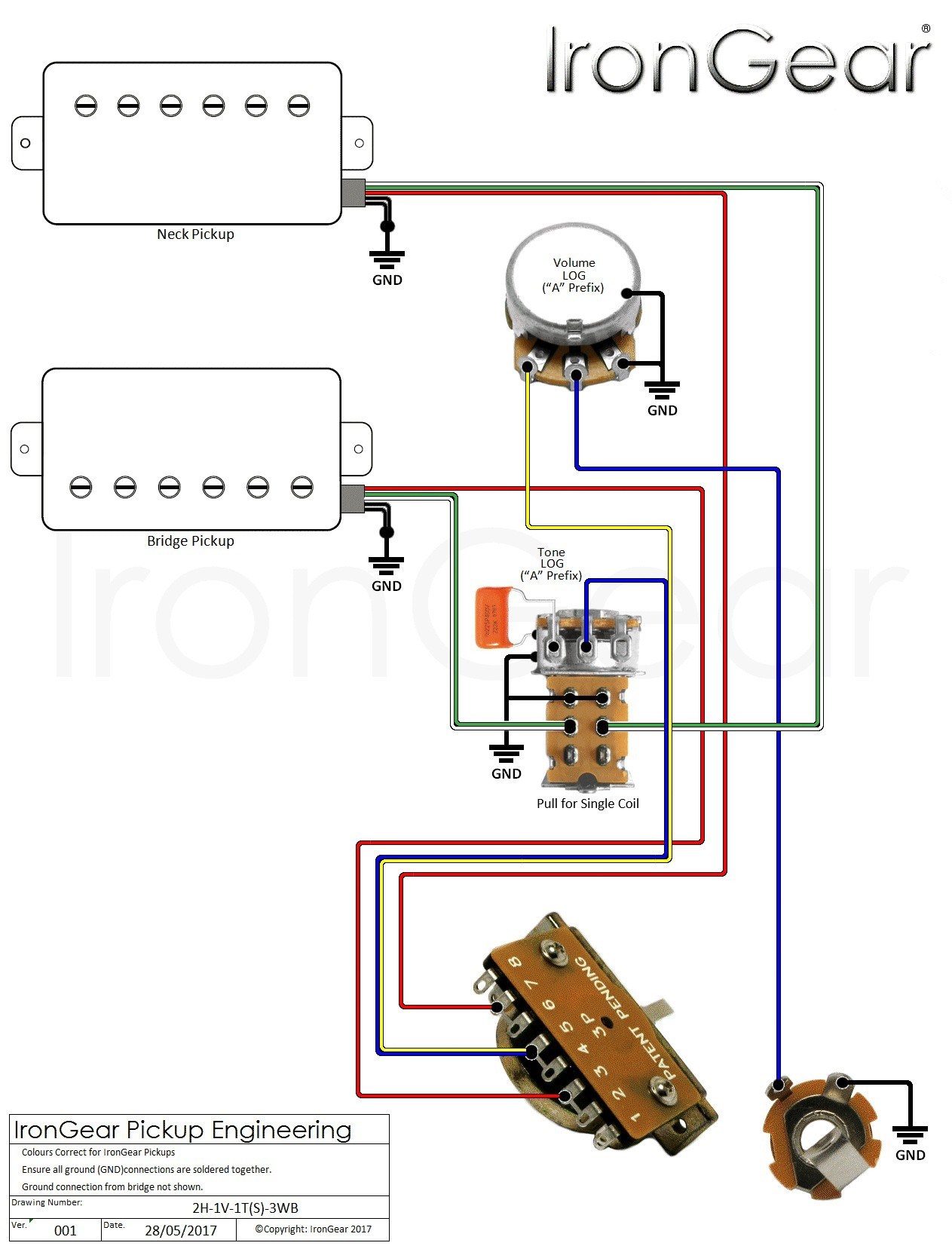 Wiring Diagram For e Pickup Guitar Refrence Electric Guitar Wiring Diagram E Pickup New Irongear Pickups