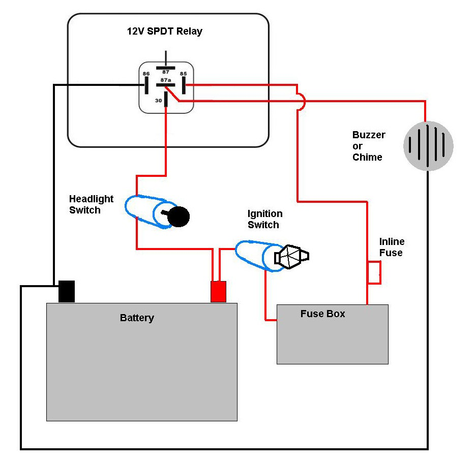 Motorcycle Headlight With Single SPDT Relay Motor Vehicle Ripping Car Light Wiring Diagram