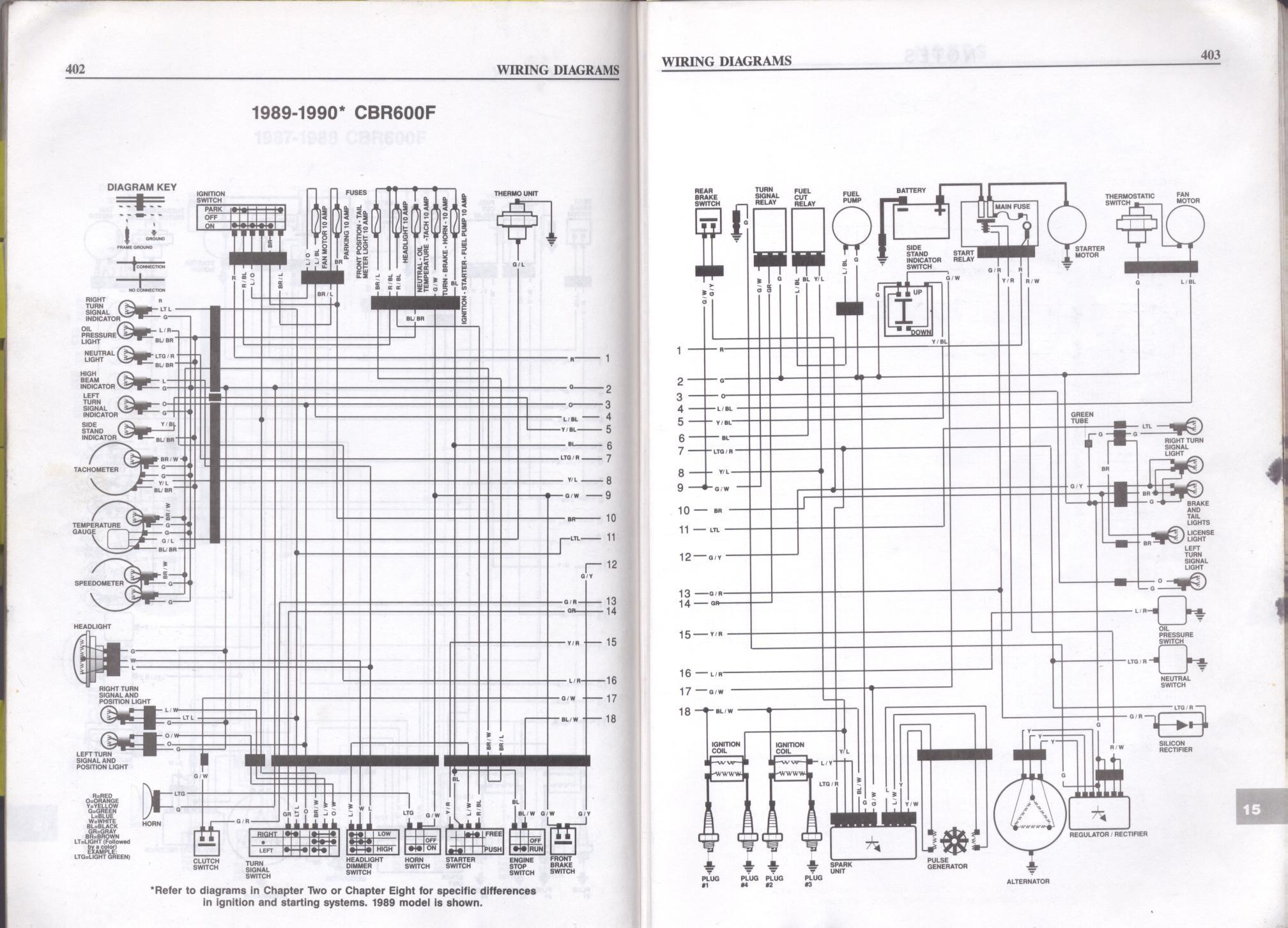 gs500 wiring diagram Collection 1989 1990 Honda CBR6 19 p