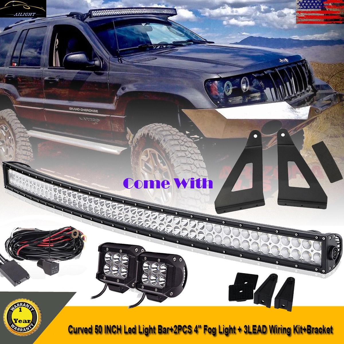 "84 01 Cherokee XJ anche MJ 50"" Curved LED Light Bar Mount Brackets 2x 4"" Pods"