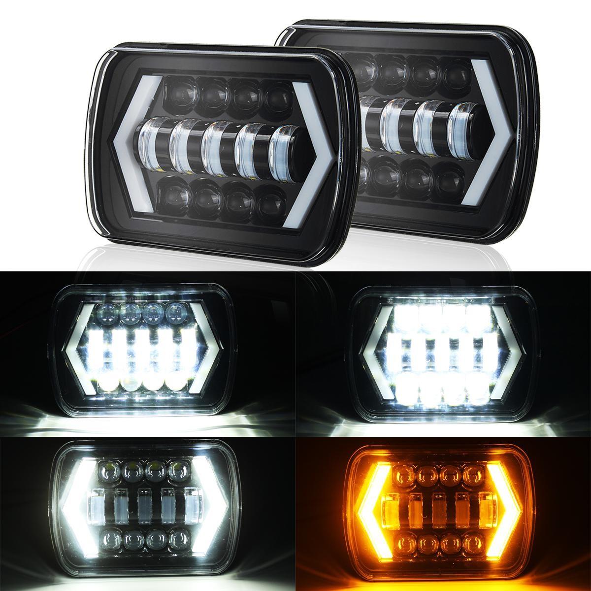 "2Pcs 7x6 5X7"" Projector LED Headlight Hi Lo Beam DRL for Jeep"