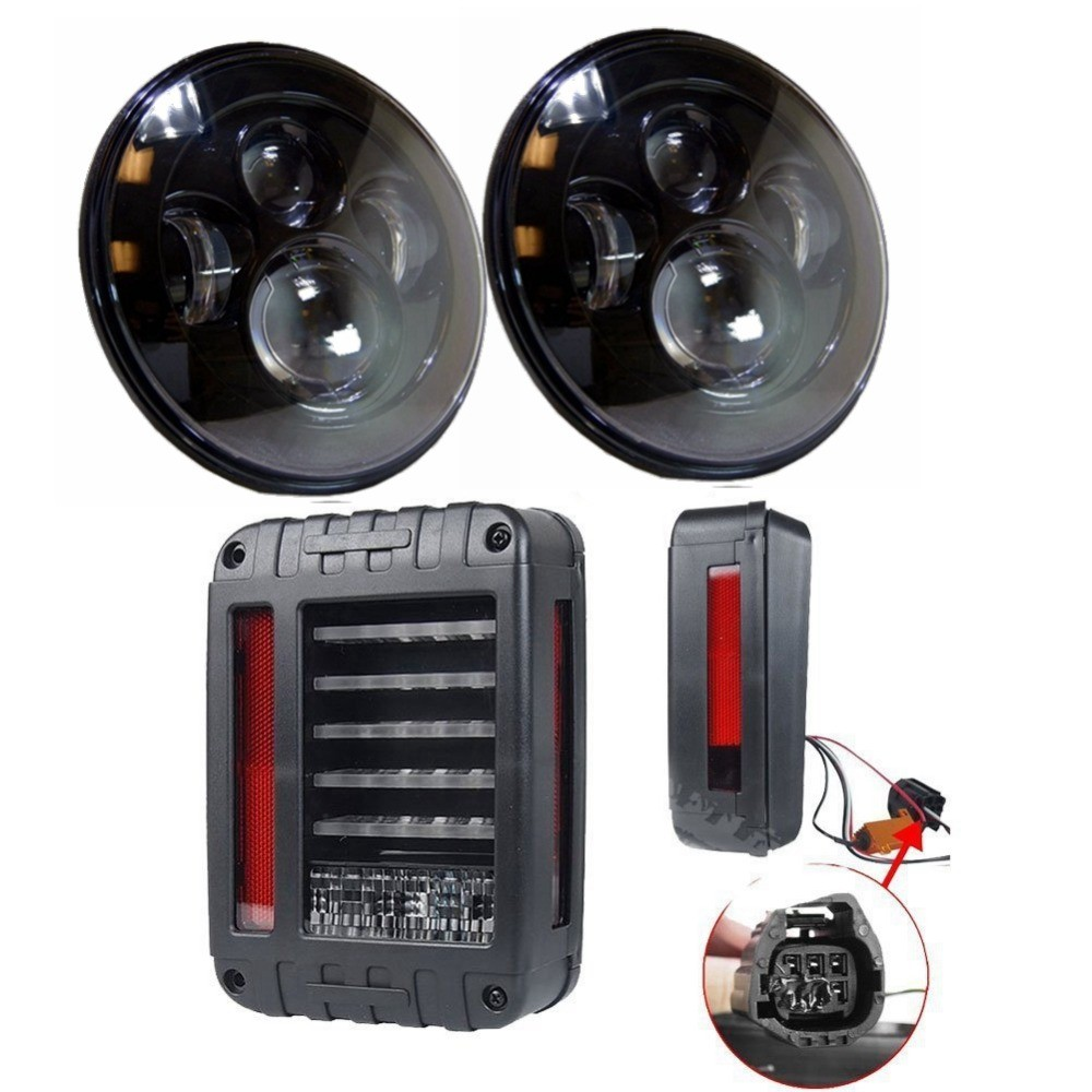 2 PC BLACK LED HEADLIGHT WITH 2x LED Tail Lights 2007 2015 Brake Reverse Light Rear Back Up Turn Singal Lamp for JEEP WRANGLER in Car Light Assembly from
