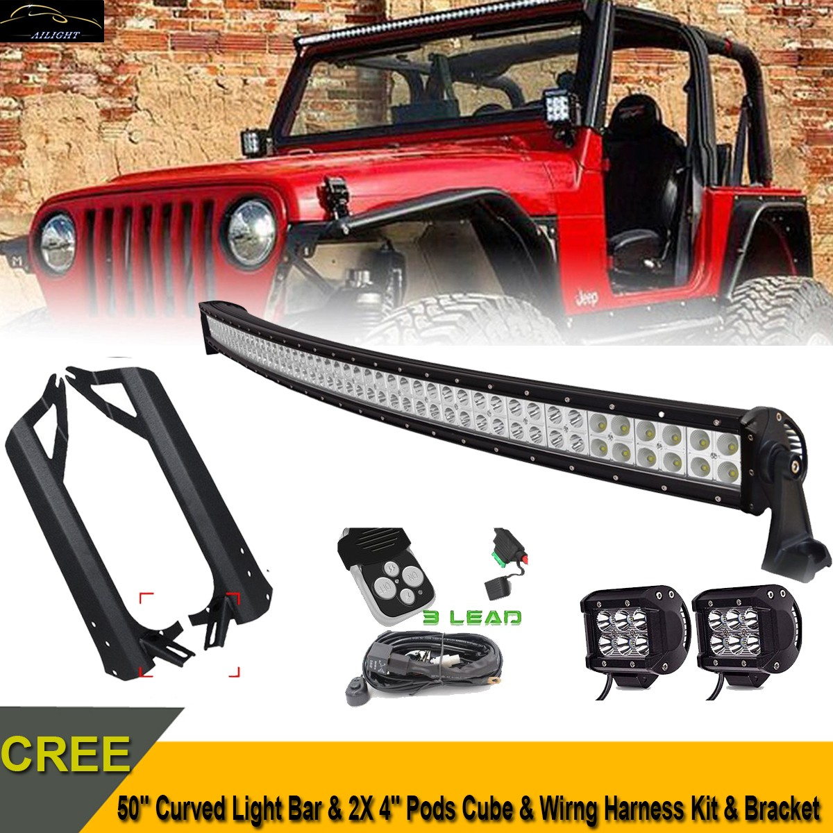 "50"" LED Light Bar Mount Bracket 4"" Spot Pods Wiring Kit For 07 15 Jeep JK Sahara"