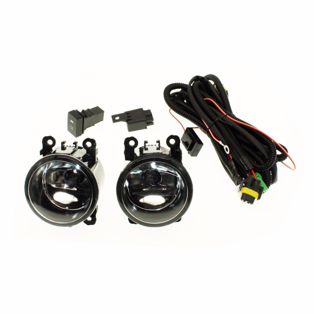 H11 Wiring Harness Sockets Wire Connector Switch 2 Fog Lights DRL Front Bumper Halogen Car Lamp For MITSUBISHI L200 KB T KA T in Car Light Assembly from