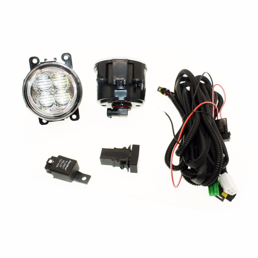 For Ford C Max Fusion 13 14 H11 Wiring Harness Sockets Wire Connector Switch 2 Fog Lights DRL Front Bumper 5D Lens LED Lamp in Car Light Assembly from