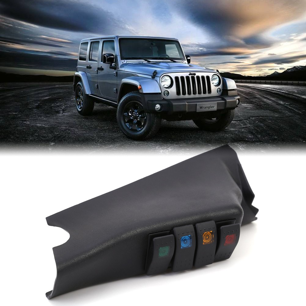Black Car Left A Pillar 4 Rocker Switch Pod Panel Kit For Jeep Wrangler 2007 2015 LHD