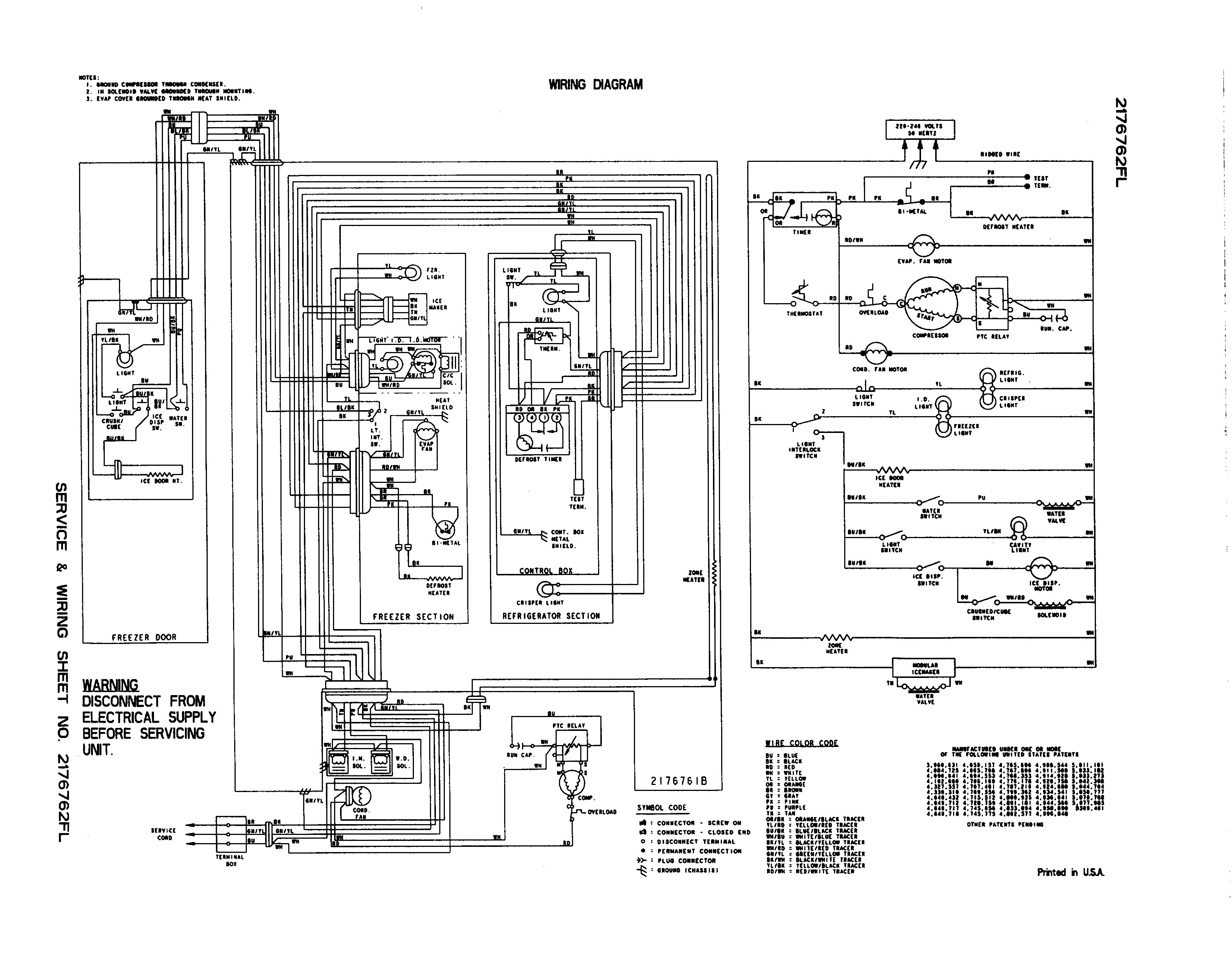 Whirlpool Refrigerator Wiring Diagram Electrical Schematic For Striking Kenmore Ice Maker And