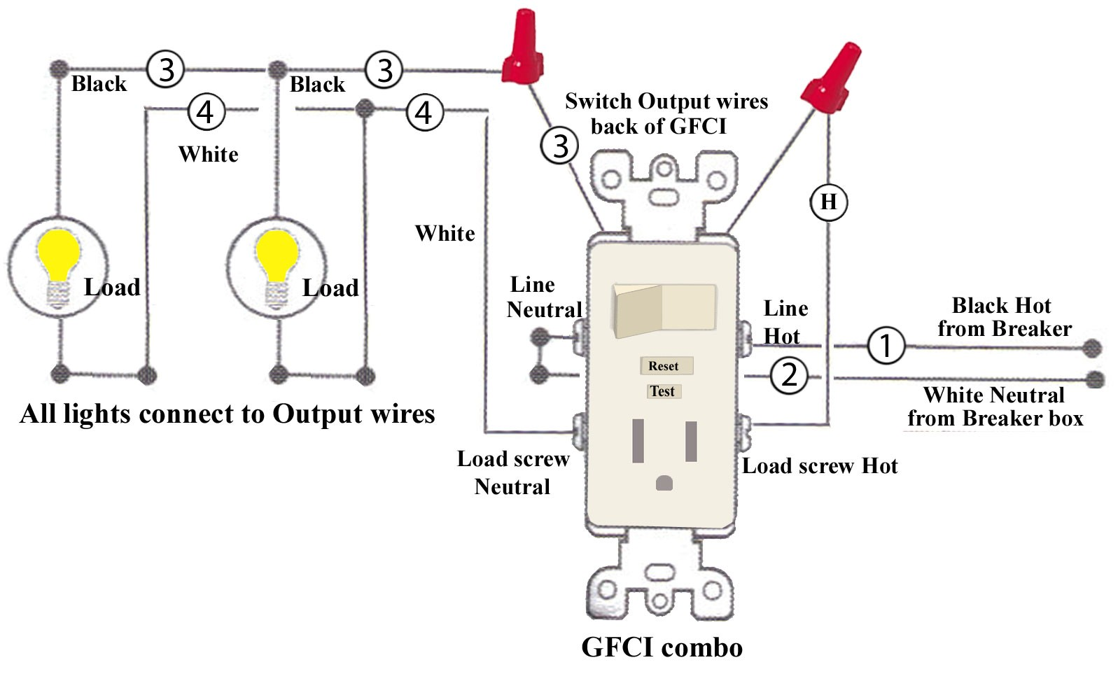 Double Wall Switch With Gfci Wiring Diagram Electrical A For 2 Lights Combination Plug Trusted U2022 And Outlet