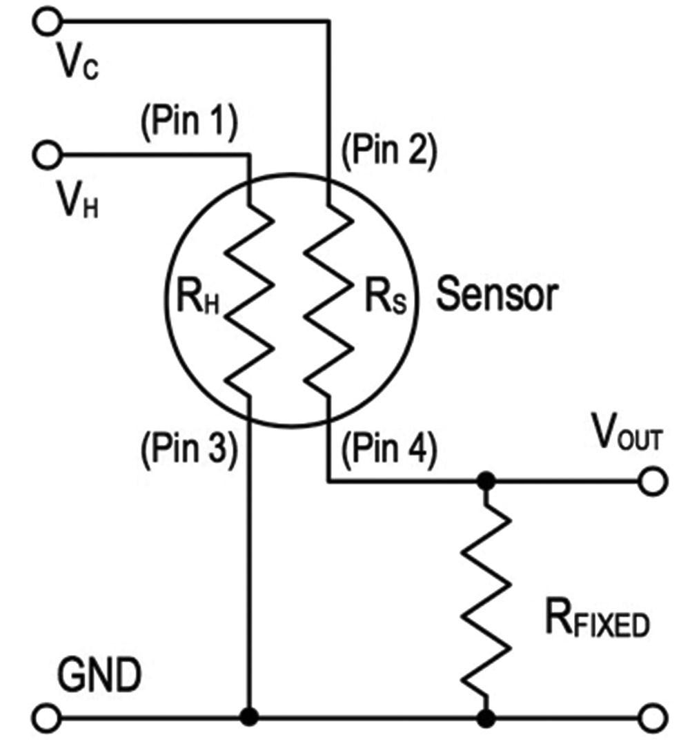 Slika 2 Konfiguracija z delilnikom napetosti predstavlja najpreprostejšo zasnovo kemično uporovnega senzorja Vendar zasnova zaradi svojih omejitev morda