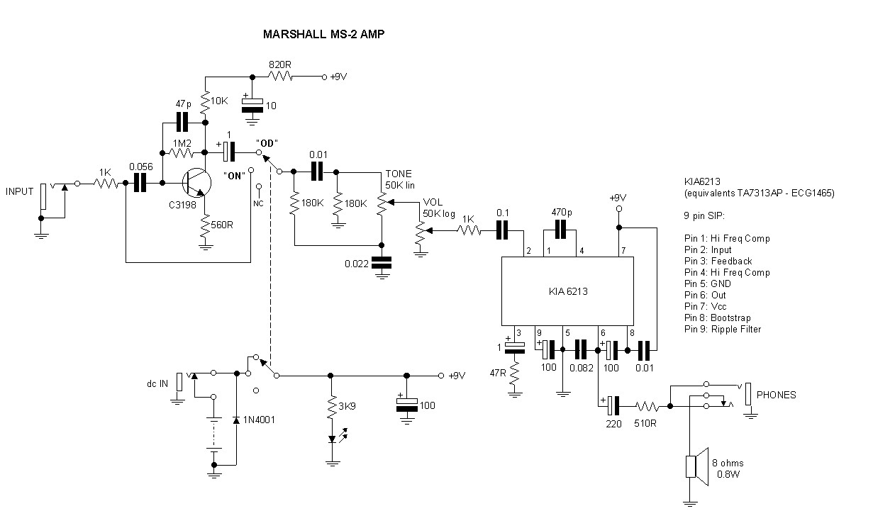Marshall Footswitch Schematic