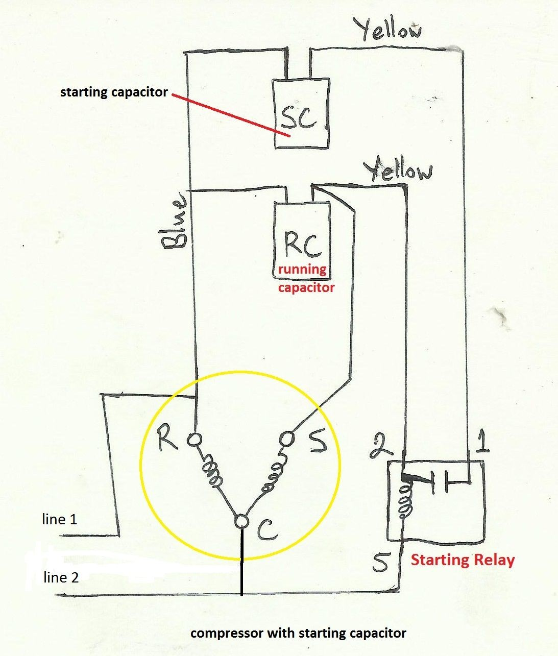 Air pressor Capacitor Wiring Diagram Before you call a AC repair man visit my blog for some tips on how to save thousands in ac repairs