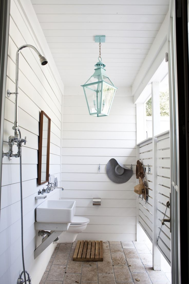 Farmhouse Style outdoor bathroom for the pool makes me want to a pool to have this outdoor showers for lake house or beach house are a must