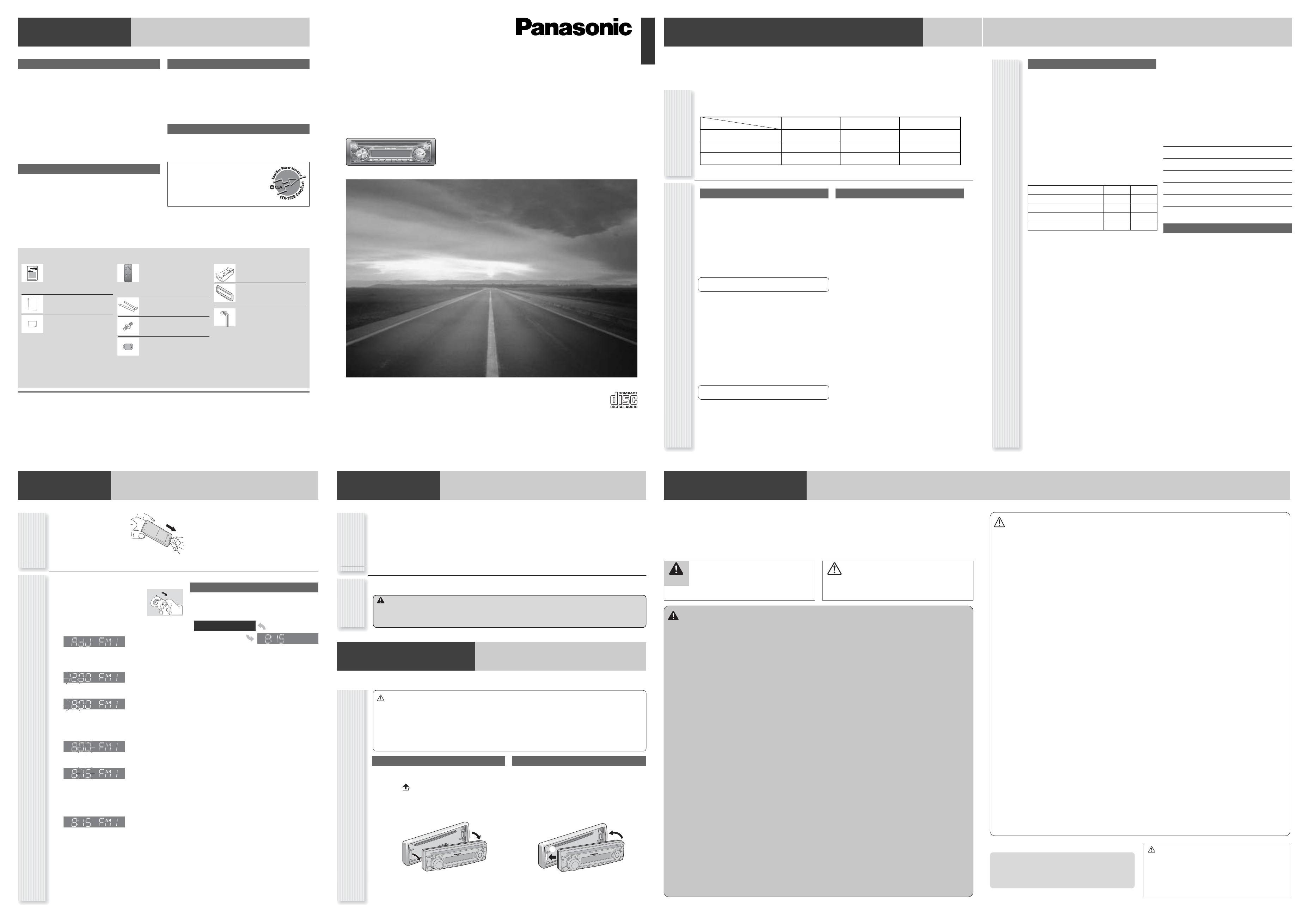 Panasonic CQ C1101U Car Stereo System User Manual