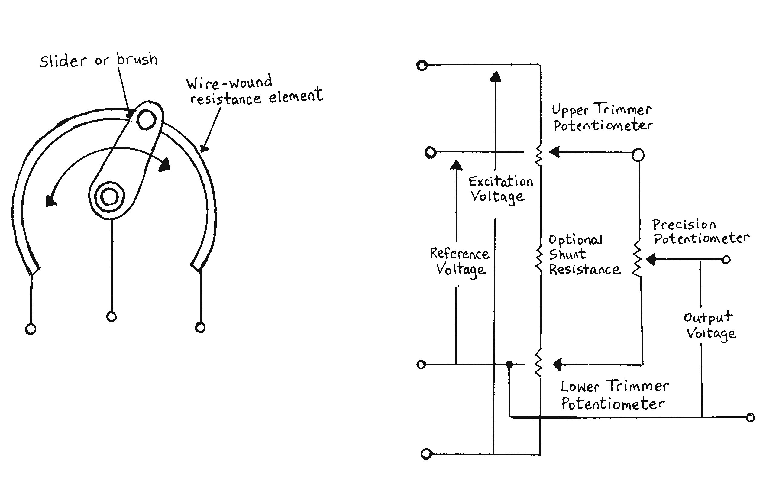 potentiometer wiring connection diagram example electrical wiring rh cranejapan co 6 Pin Potentiometer 10K Potentiometer Schematic