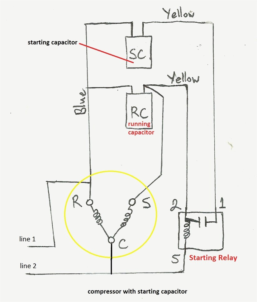 wiring diagram of compressor with starting capacitor wire center u2022 rh inkshirts co Single Phase Compressor Wiring Diagram Single Phase Compressor Wiring Diagram