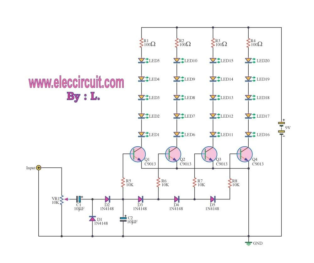 This is Analog vu meter circuit that works with the integrated amplifier circuit The signal will sound the audio amplifier circuit into VU meter circuit