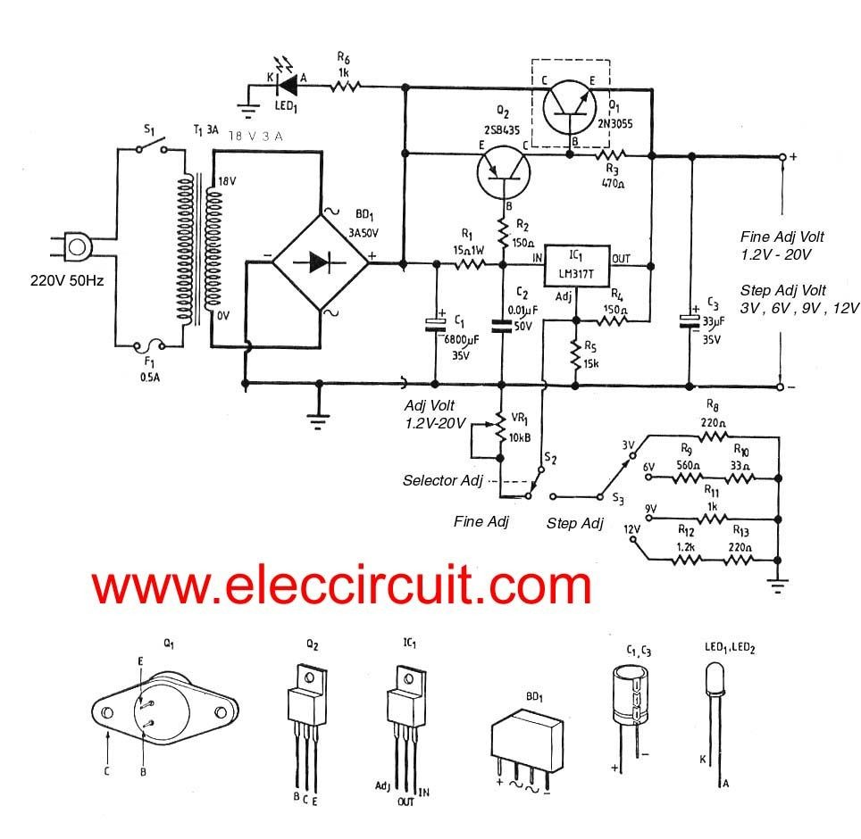 This is First Variable DC Power Supply to using using a few parts and build easy with PCB layout and can fine adjust voltage output