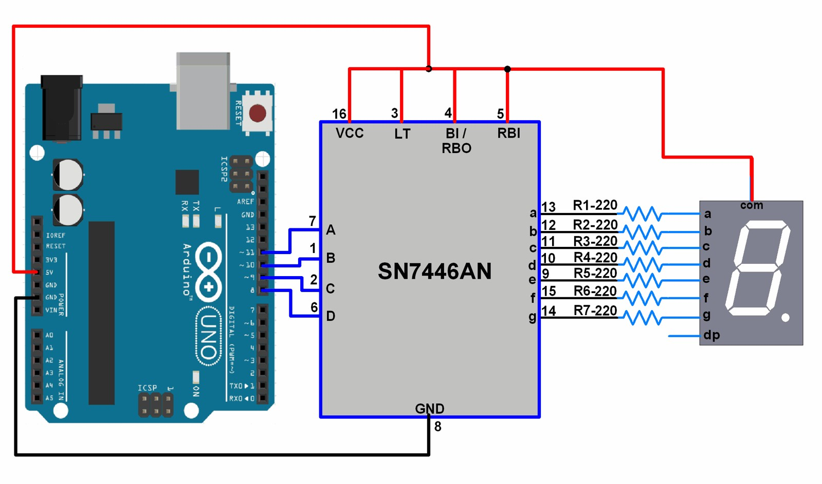 Seven Segment Display Using Arduino Lesson U2013 Traffic 7 Wiring Diagram Circuit Image