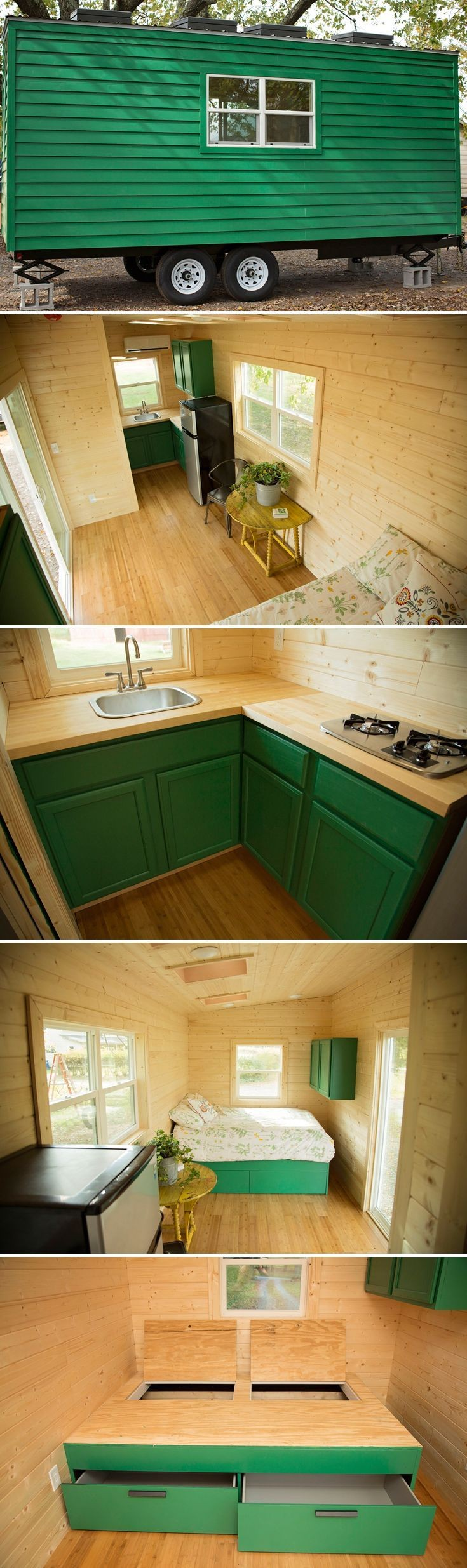 A client designed single level tiny house on wheels built by Perch & Nest and