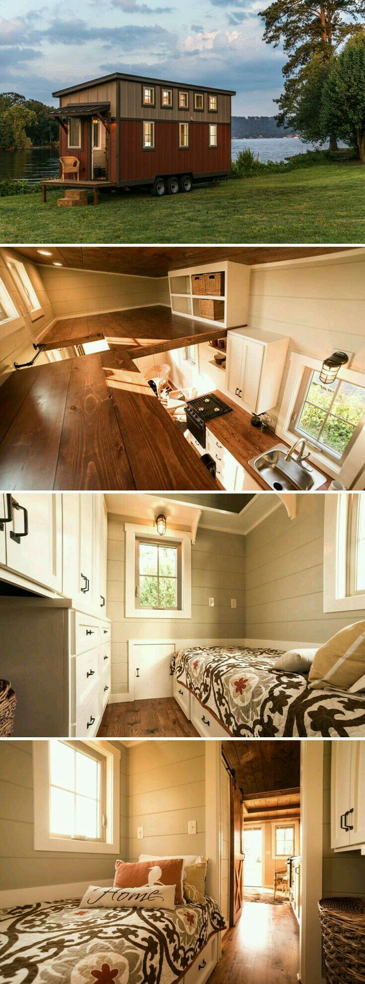 A 160 sq ft tiny house built on a triple axle trailer