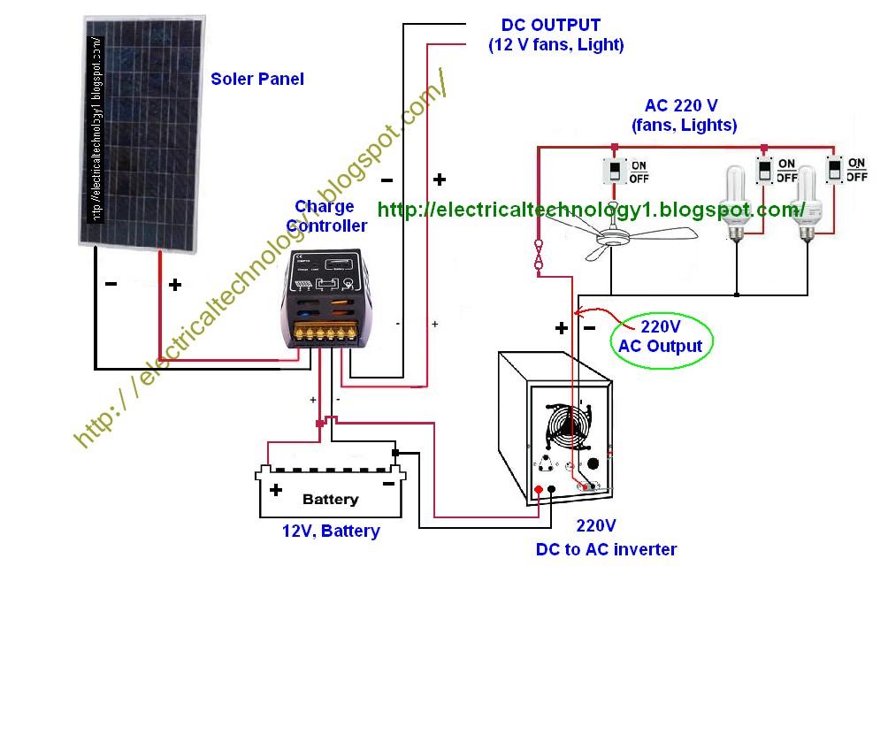 Wire Solar Panel To 220v Inverter 12v Battery Dc Load With Transformer Wiring Diagram For 12V