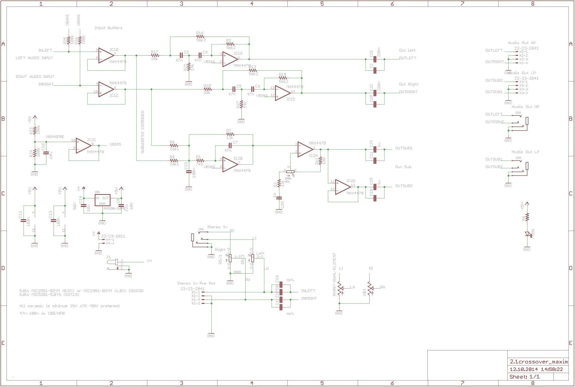Aktive Crossoverfrequenzweiche Mit Max4478 360customs Crossover Schematic Rev 0d wiring lighting circuit scr circuit Diagram