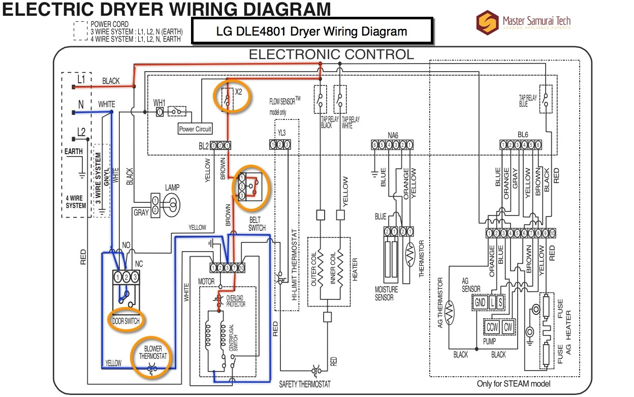 whirlpool cabrio dryer wiring diagram LG DLE4801 Dryer Wiring Diagram The Appliantology Gallery Amazing Wire