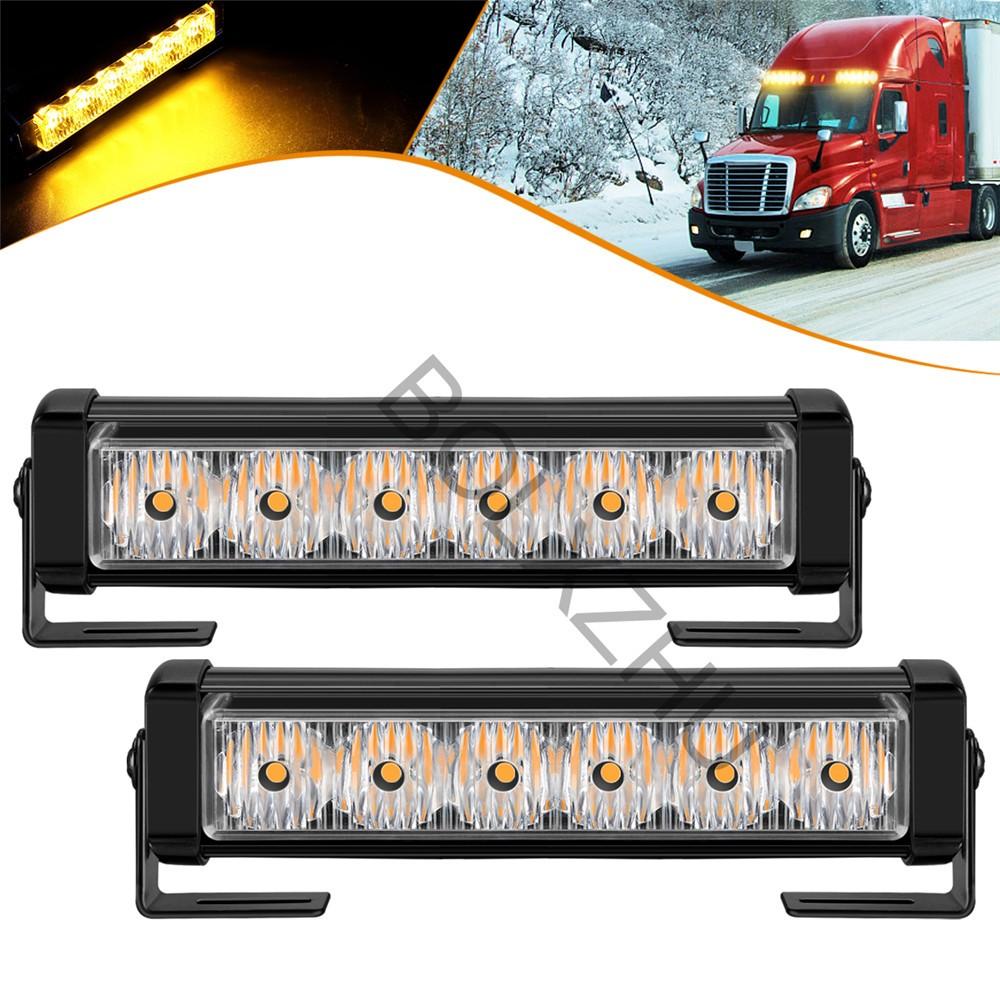 2 X 6 LED 7 Modes Traffic Advisor Emergency Warning Vehicle Strobe Lights for Interior Roof