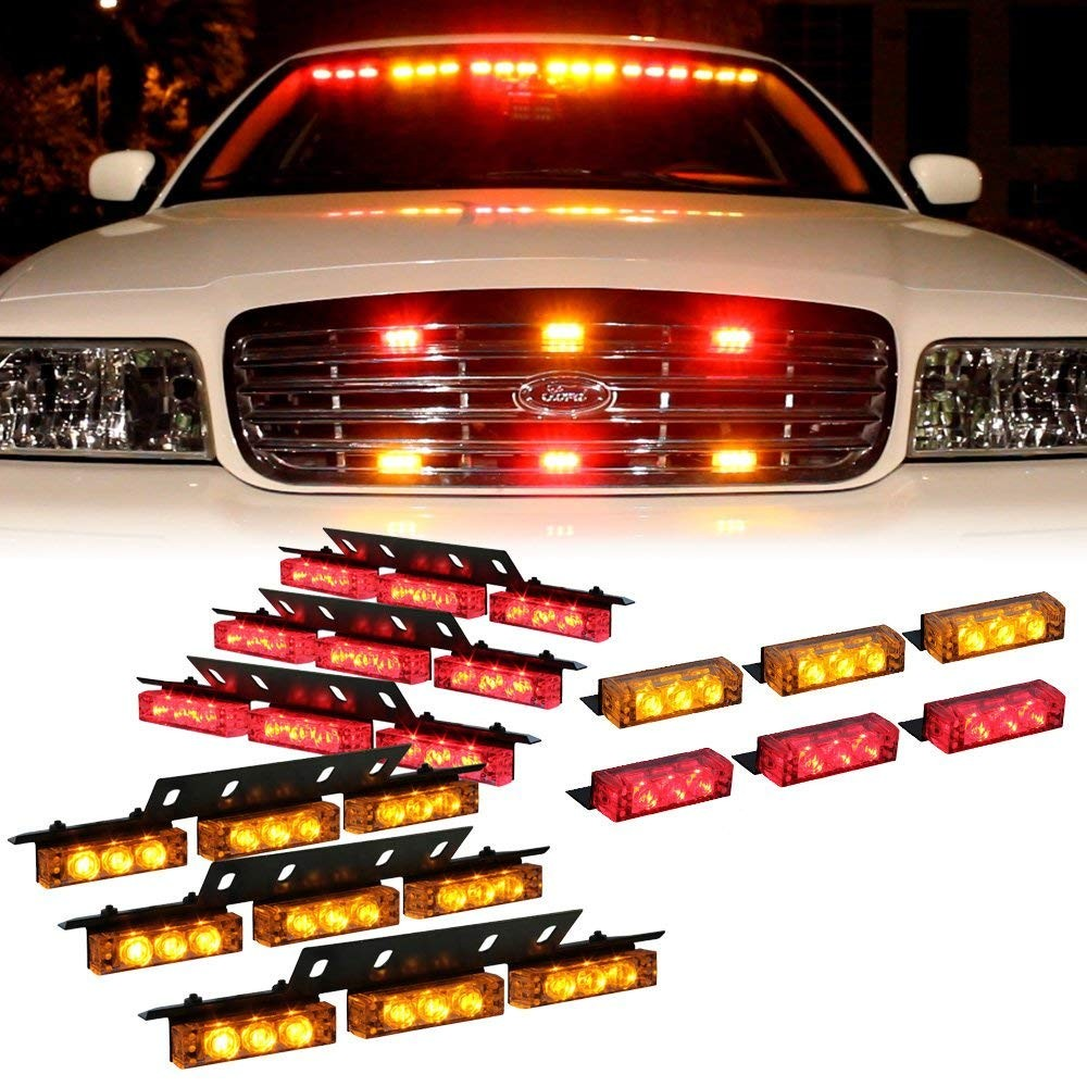 Amazon DT MOTO™ Amber Red 54x LED Security Service Vehicle Dash Deck Grille Strobe Light 1 set Automotive