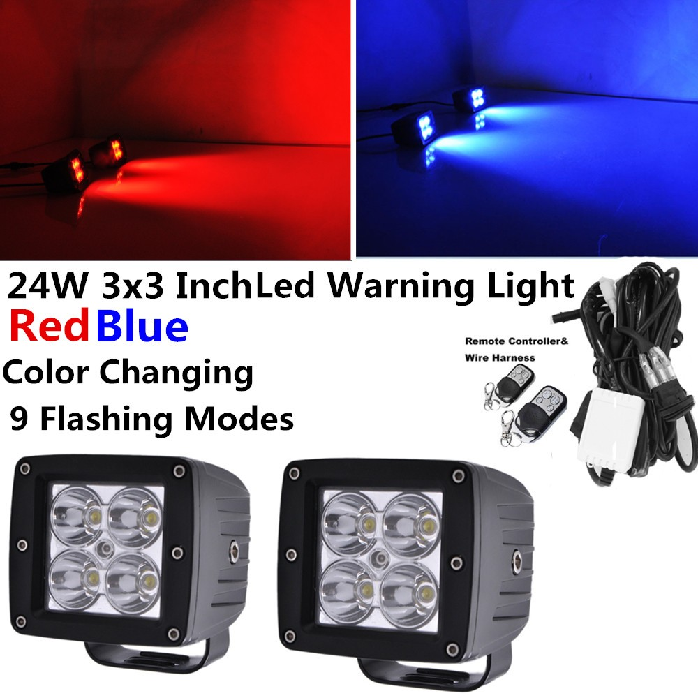 Wiring Emergency Vehicle Lights Unique Diagram Image Work Honzdda 24w Red Blue Led Fog Light By Wireless Remote 9 Flashing Modes Warning
