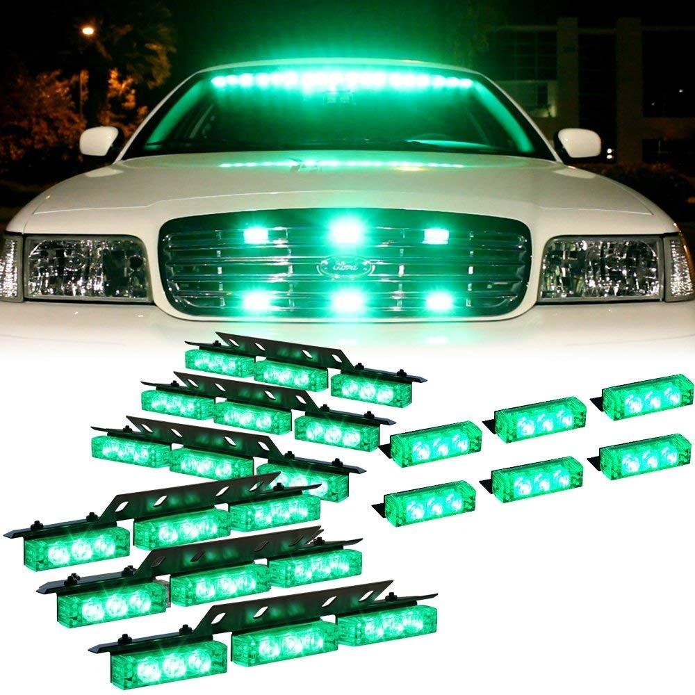 Amazon DT MOTO™ Green 54x LED Emergency Vehicle Dash Grill Deck Warning Strobe Lights 1 set Automotive