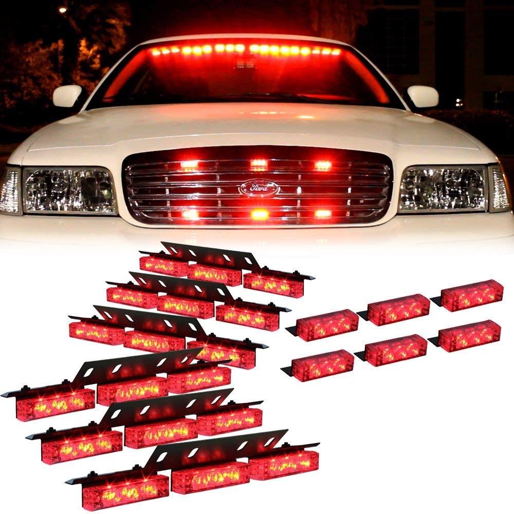 Amazon DT MOTO™ Red 54x LED EMS EMT Ambulance Emergency Vehicle Deck Dash Grille Strobe Lights 1 set Automotive