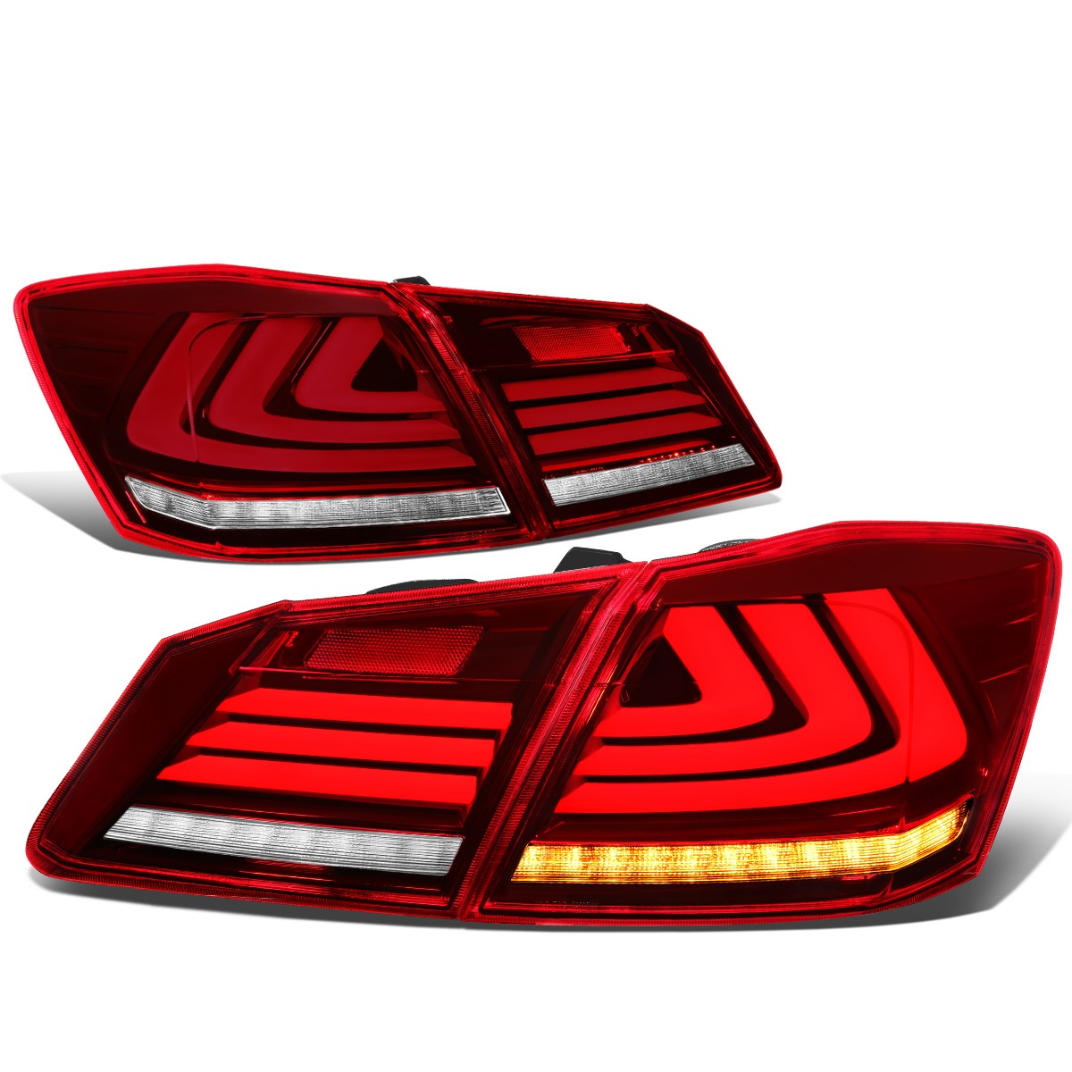 For 2013 2015 Honda Accord 4DR Sedan Sequentiel LED Turn Signal 3D Bar Tail