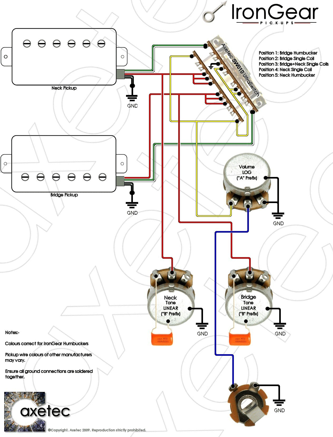 Wiring Diagram 3 Pickup Guitar New 2 Humbucker At 1 Volume Tone