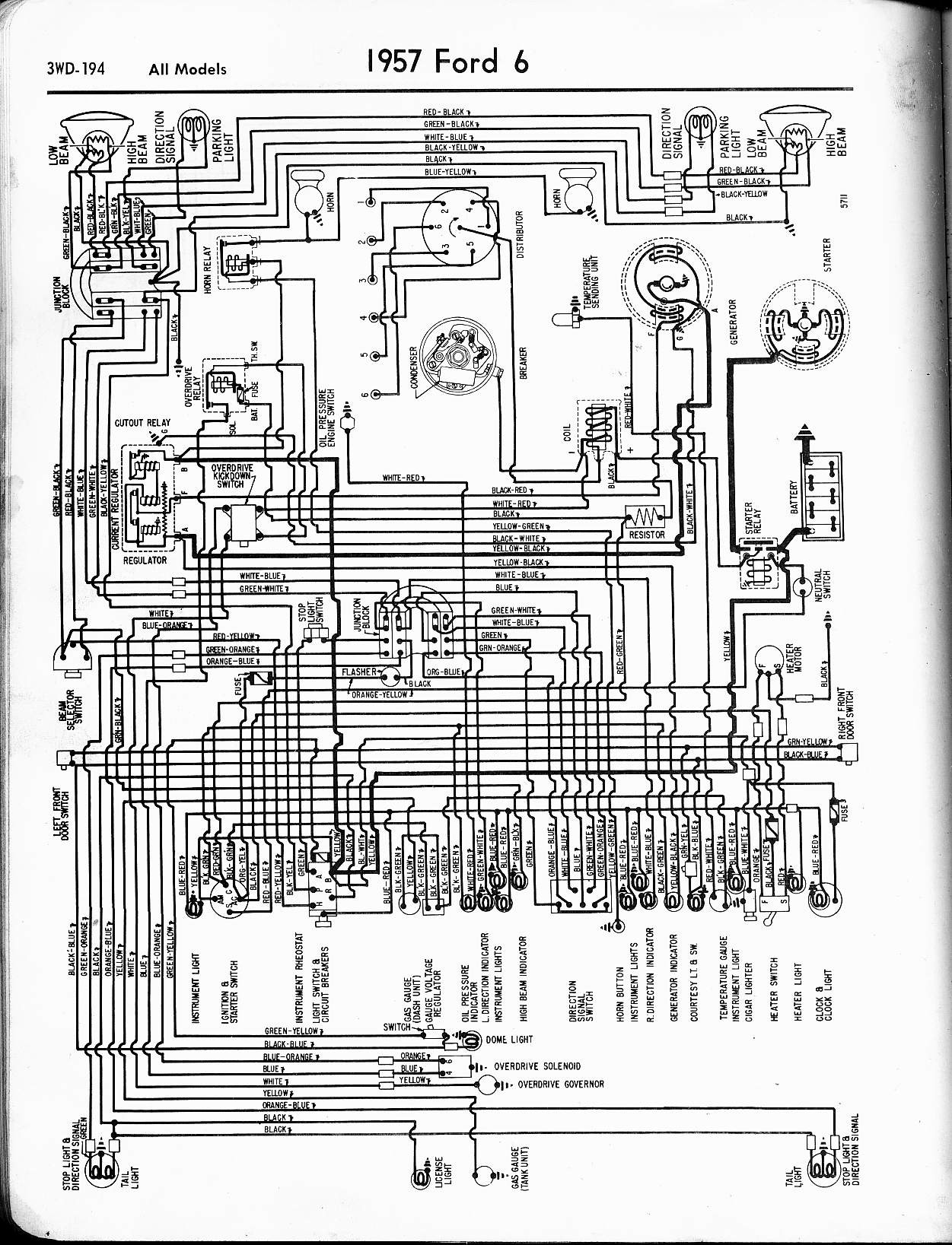 Index of wiring diagrams for 1957 1965 Ford 1957 6 Cyl All Models