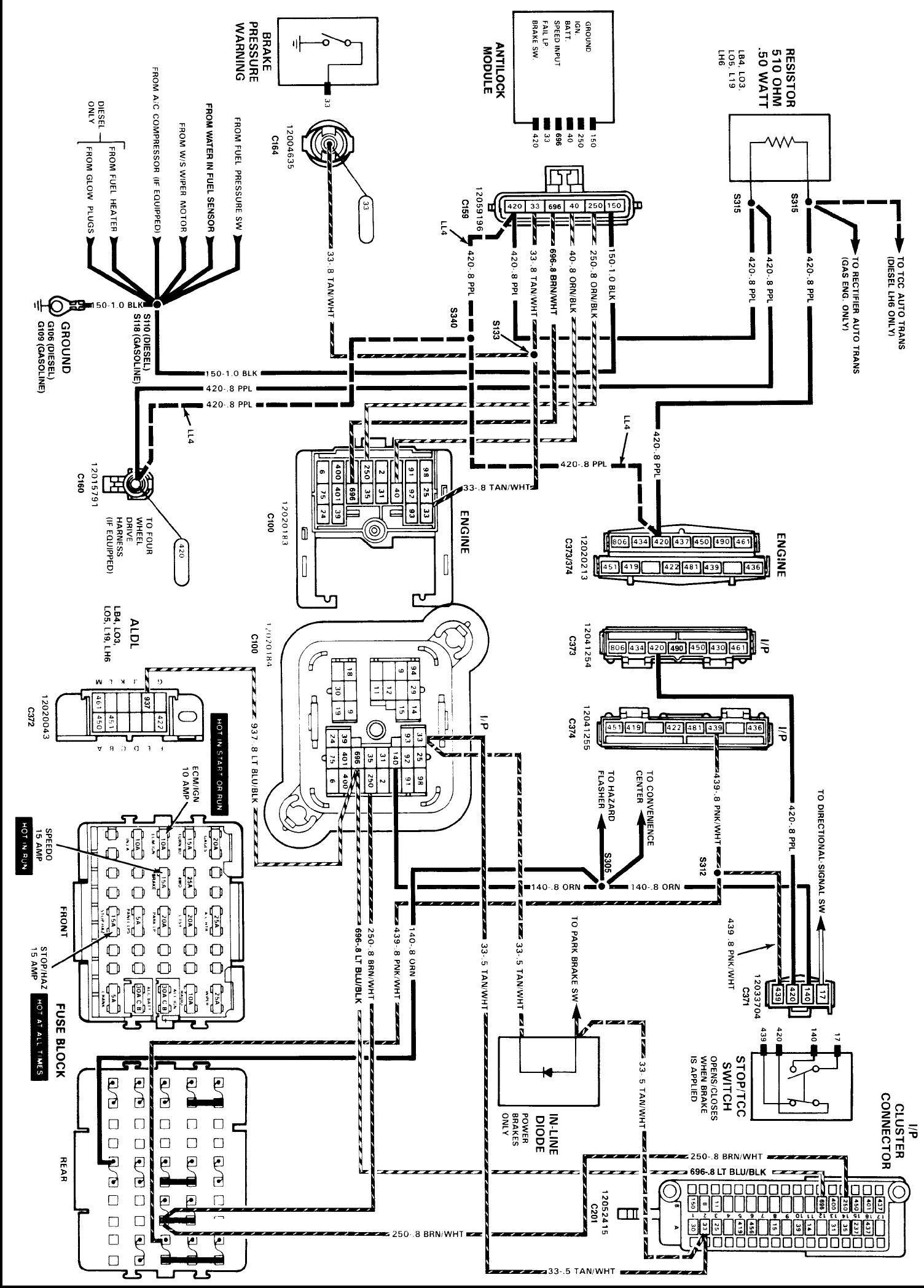 Chevy Truck Tail Light Wiring Diagram 89 Chevy 4—4 Wiring Diagram Wiring Info •