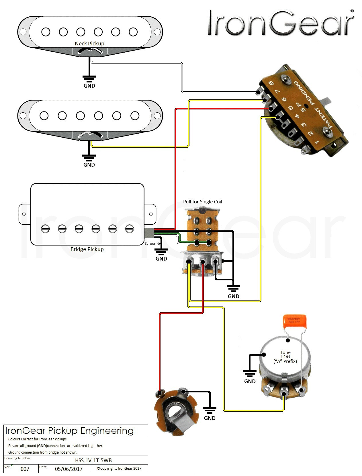 5 Way Switch Wiring Diagram Beautiful Hss 1vol Switched 1tone 5wb V07 Igwm 20 2 Humbuckers