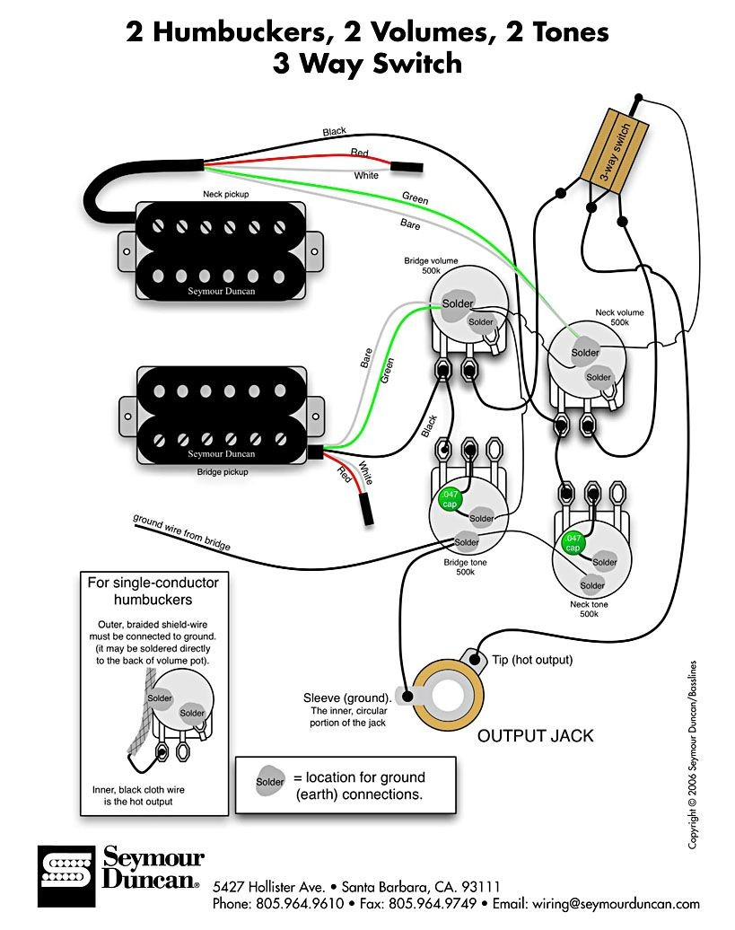 Wiring Diagram for 2 humbuckers 2 tone 2 volume 3 way switch i e traditional LP set up find more at diagrams