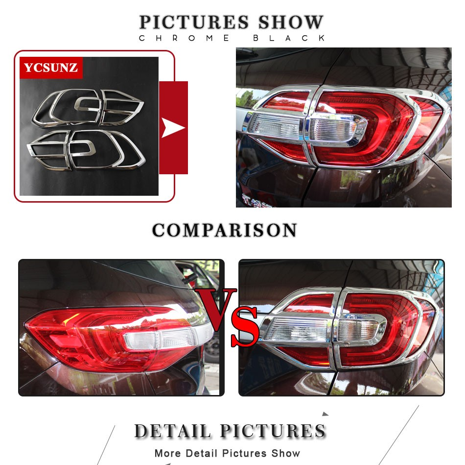 2016 2017 For Ford Everest Accessories ABS Chrome Tail Lights Cover Parts For FORD Everest Endeavour Decorative Parts Ycsunz in Chromium Styling from