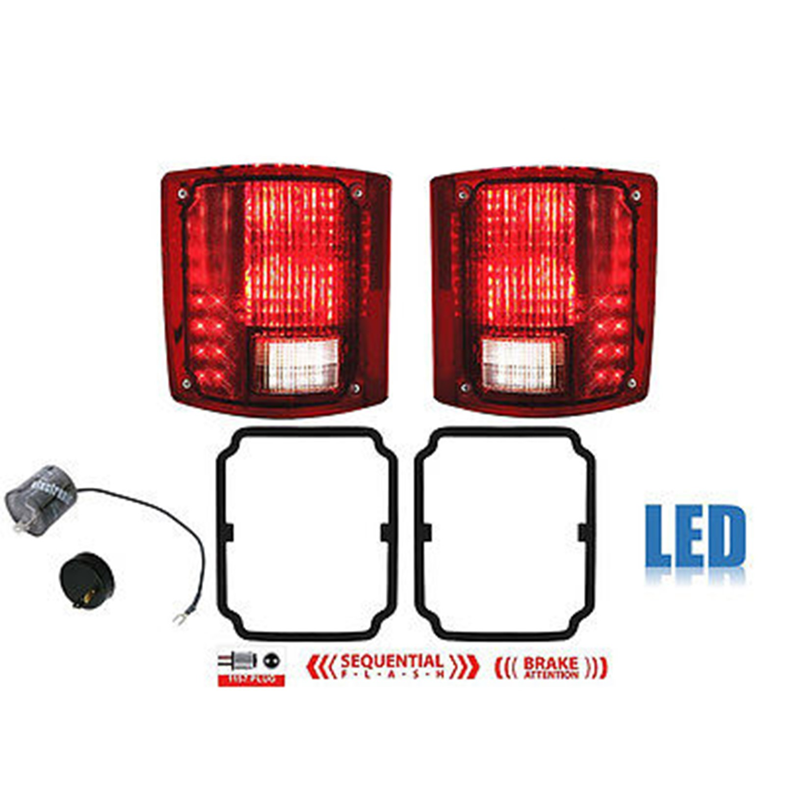 73 91 Chevy GMC Truck LED Sequential Tail Light Lens & Gaskets Pair w Flasher