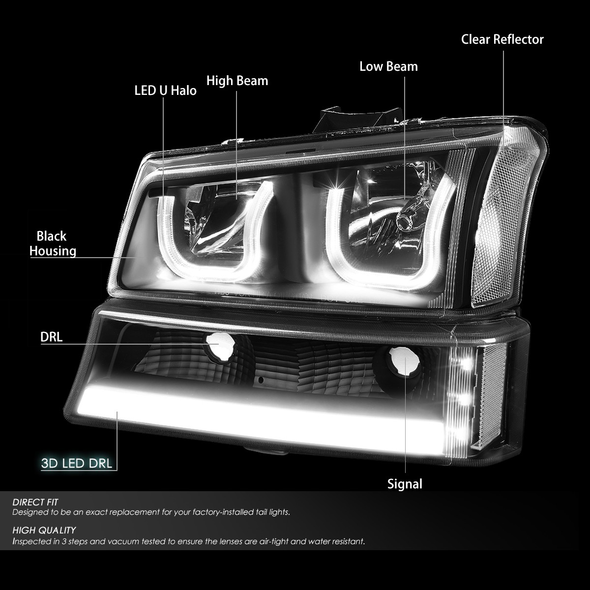 For 03 06 Chevy Silverado Classic Avalanche LED DRL Dual Halo Headlights