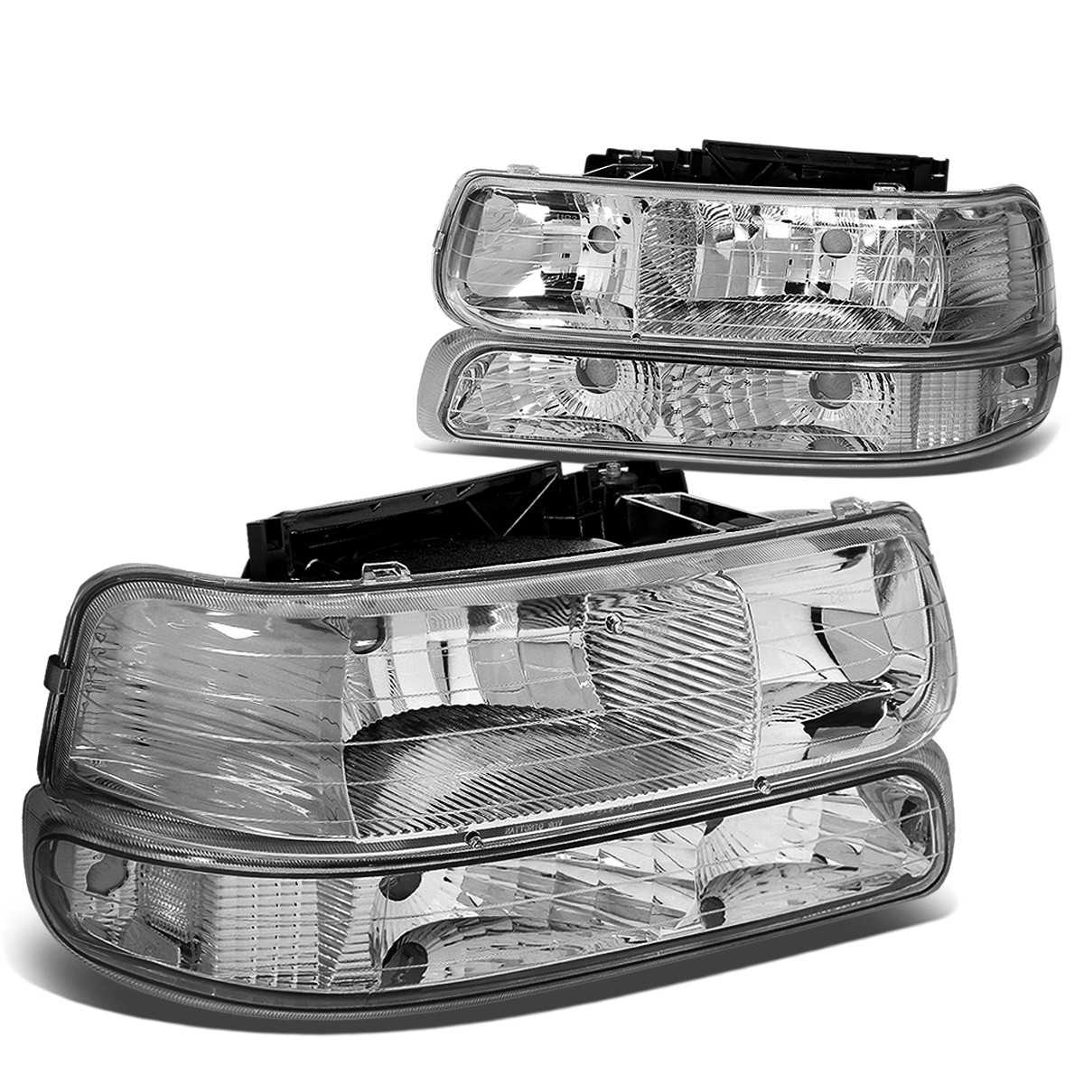 For 99 06 Chevy Silverado Tahoe Replacement HeadLight Bumper 4 PC Lamp