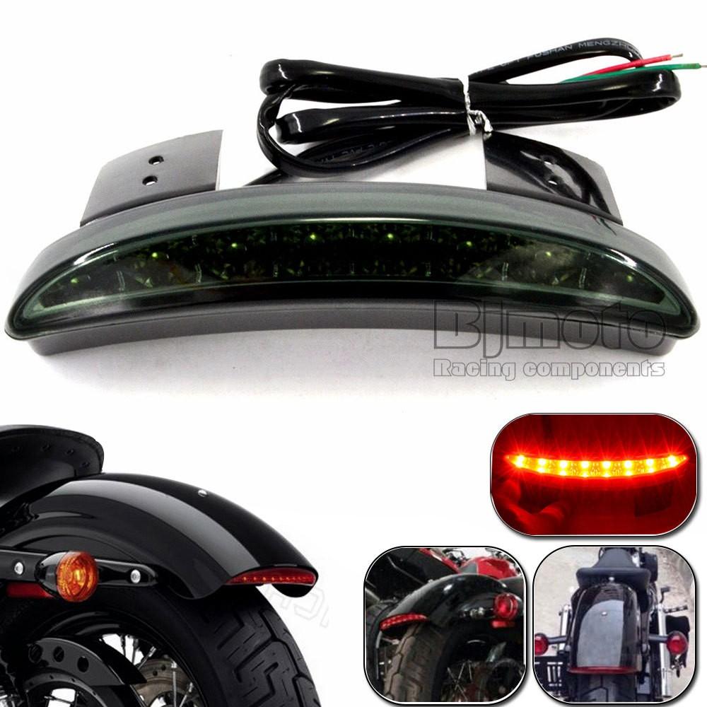 Motorcycle Green Black Rear Fender Edge LED Taillight Tail Light Brake Stop Light For Harley Davidson