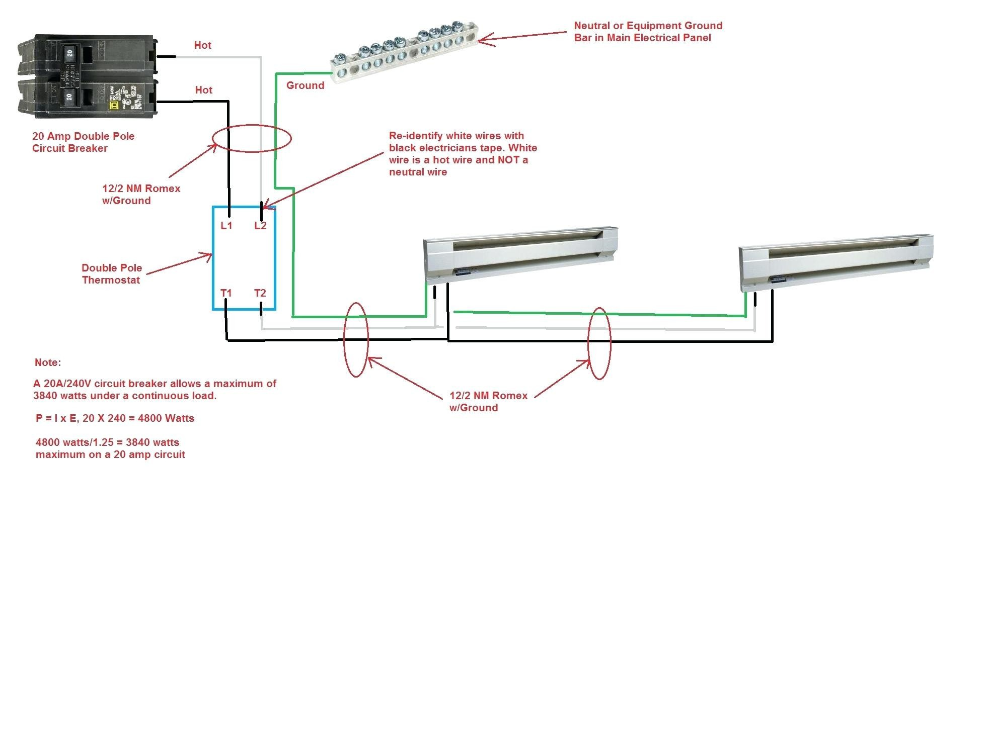 new wiring diagram 2 baseboard heaters 1 thermostat rccarsusa rh rccarsusa Wiring a 220V Baseboard Heater Wiring a 240V Baseboard Heater