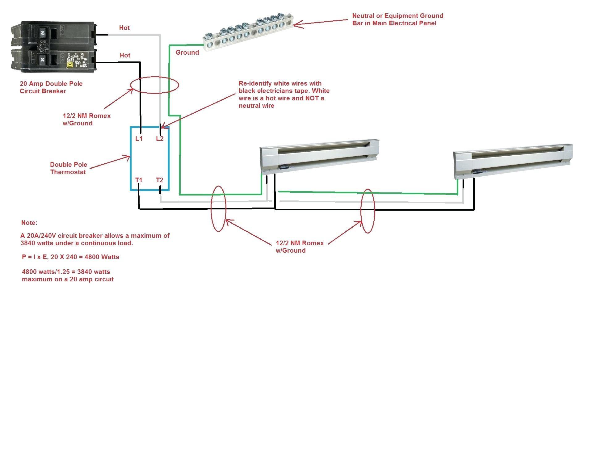 new wiring diagram 2 baseboard heaters 1 thermostat rccarsusa rh rccarsusa Wiring a 220V Baseboard Heater Wiring a 240V Baseboard Heater