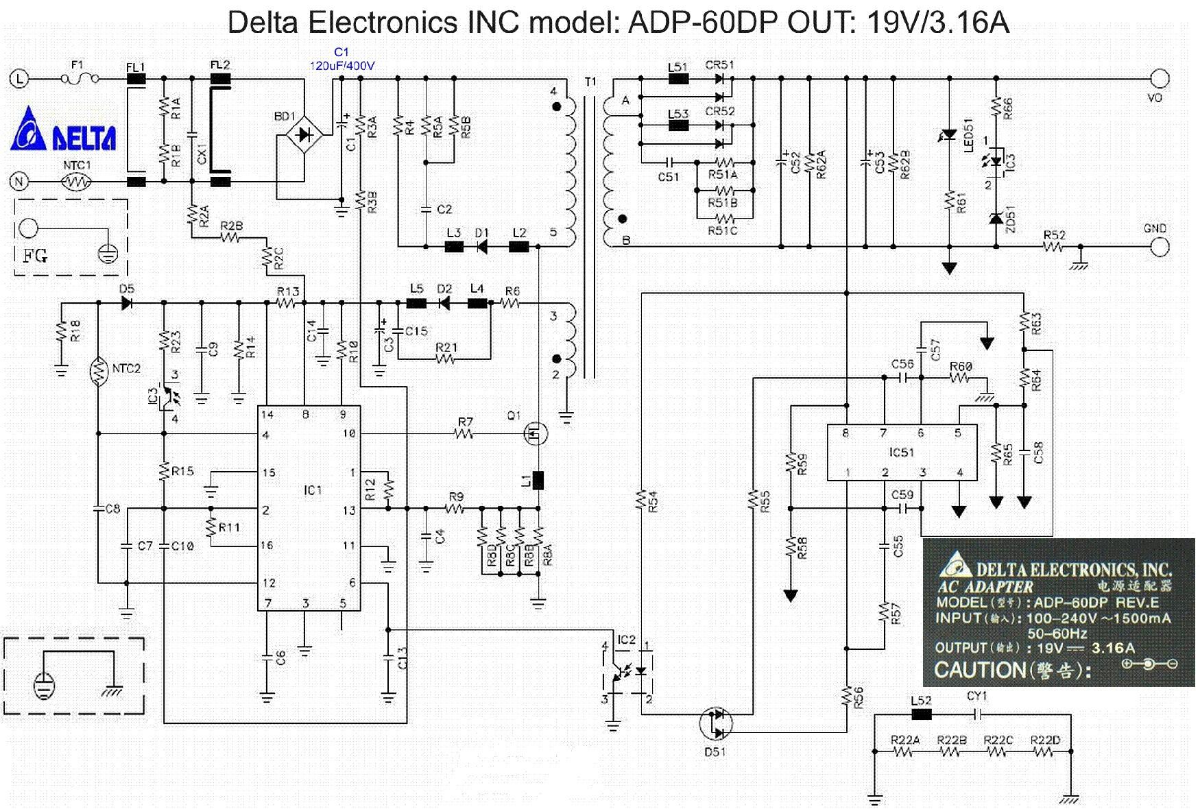 DELTA ADP 60DP PSU SCH service manual 1st page