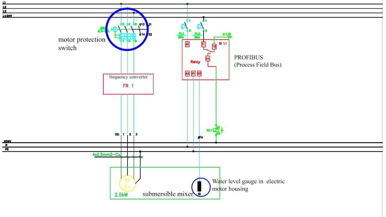 3 Phase electric motor connection scheme to power grid Motor protection switch Profibus